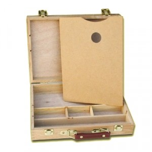 Cassetta Porta Colori  con tavolozza e scomparti - cm 33x25x8