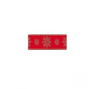 Nastro Natale con fiocchi neve cm 3 - rotolo 10 mt