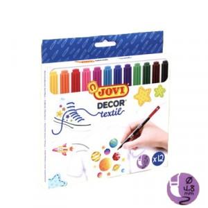 Pennarelli indelebili per tessuto 12 colori brillanti, punta da 4.8mm