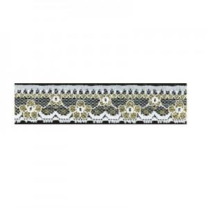 Pizzo Nylon Metal Bianco Oro 3cm - pezza 20 mt