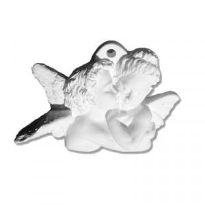 Coppia Angeli  - gesso ceramico bianco - cm  8 x 5