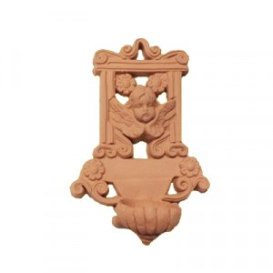Acquasantiera traforata in terracotta - cm 11