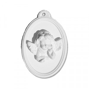 Placca Ovale Angelo - gesso ceramico bianco - cm  9 x 6