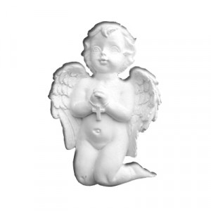 Angelo in Preghiera - gesso ceramico bianco - cm  5 x 4