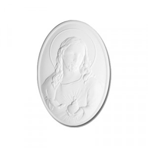 Placca Ovale Sacro Cuore - gesso ceramico bianco - cm  9 x 6