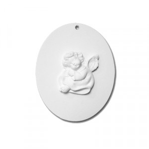 Ovale con Angelo  - gesso ceramico bianco - cm  11 x 9