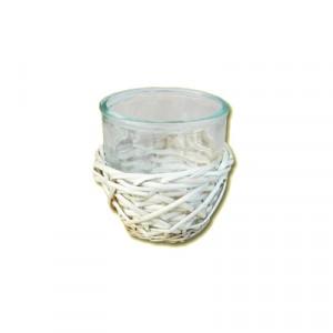 Cestino vimini con Vasetto vetro cm 12